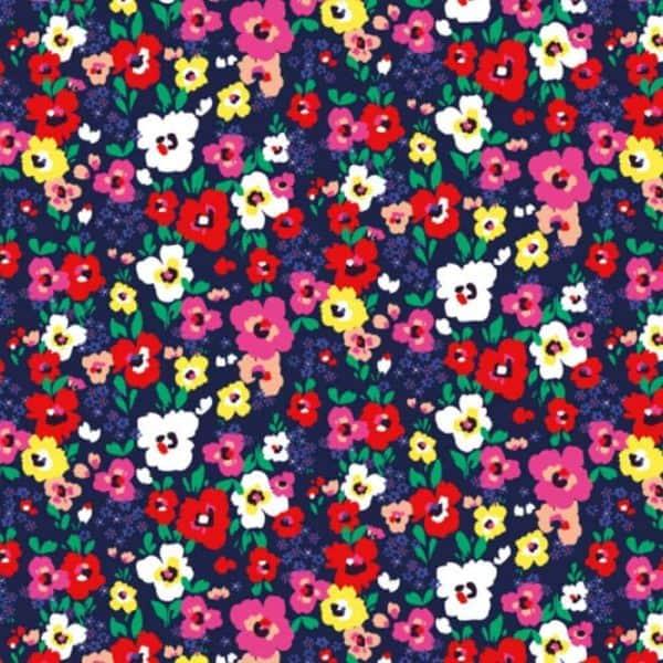 Ernst Textil - kleine bloemetjes pepino rod gron bla