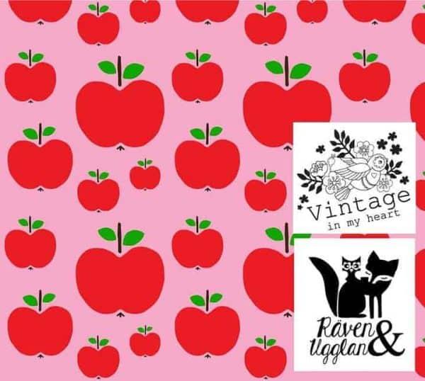 Vintage in my heart appeltjes roze