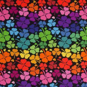 Tradsnella- regenboog klavers zwart (French Terry)