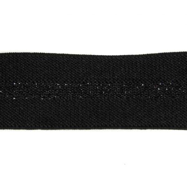 Elastiek Zwart lurex-30 mm elastiek zwart met