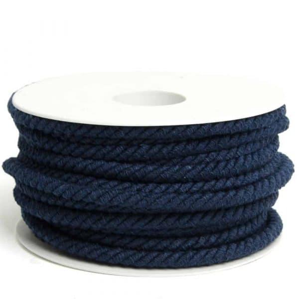 Blauw rondgedraaid katoendraad 6mm koord blauw Aangepast