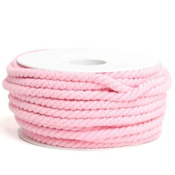 Roze rondgedraaid katoendraad 6mm koord roze Aangepast