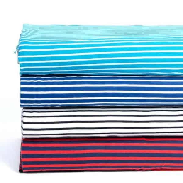 Stoffonkel- wit zwart streepjes met blauw Aangepast