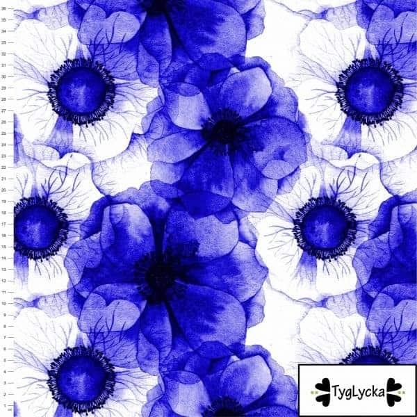 Tyglycka - Anemonen blauw (Tricot) Coupon 90cm anomen blue