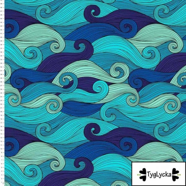 Tyglycka - Big waves turquoise (Tricot) big waves turquoise