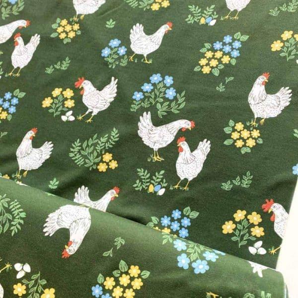Fossan- Kippen groen Coupon 35cm fossan kip2 Aangepast