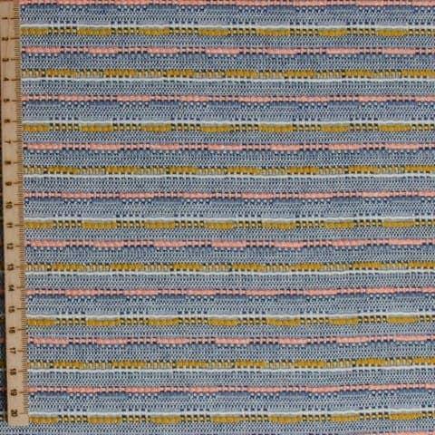 Geweven katoenmengsel oker, abrikoos en jeans sessie12 554 Klein