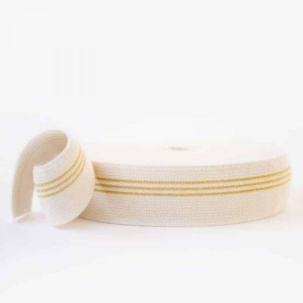 See You At Six - elastisch band - 3 gouden lijnen - 5cm breed 0002816 elastic waistband 3 golden lines r