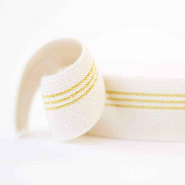 See You At Six - elastisch band - 3 gouden lijnen - 5cm breed 0002817 elastic waistband 3 golden lines r
