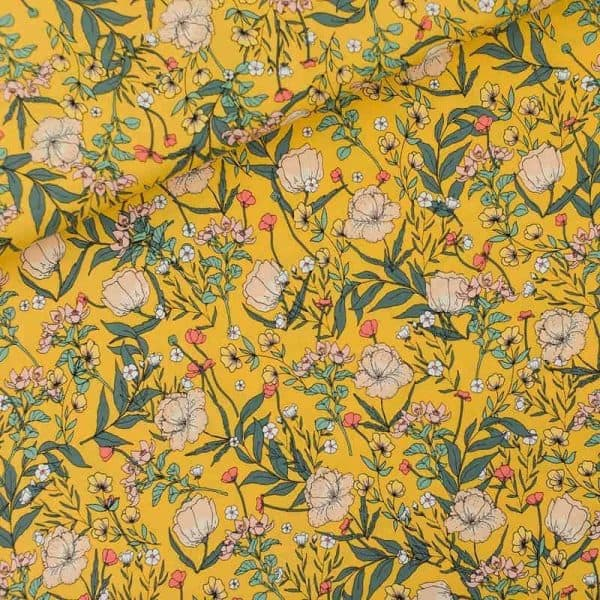 See You At Six - Summer Flowers - S - Viscose - Rayon Summer Flowers S Viscose Rayon Yolk Yellow 01b Aangepast