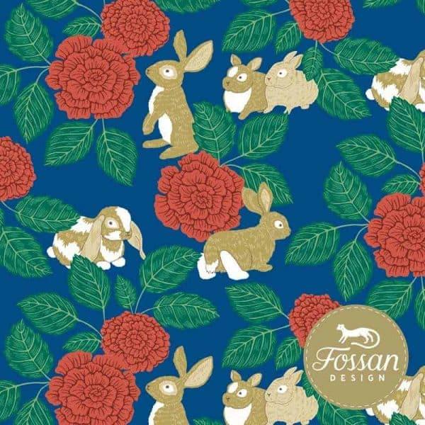 Fossan- Rabbit Rose Blue Shop Rabbit Rose Blue