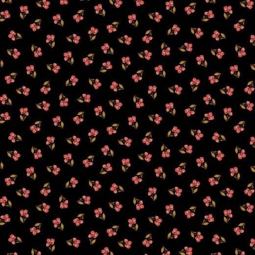 Poppy bloemetjes zwart (katoen) 07951.027