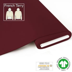 Overzicht duurzame stoffen fabrilogy gots french terry coupon 415 dark bordeaux